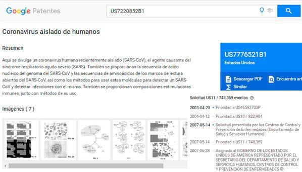 patente US7220852B1 coronavirus-(SARS-CoV)